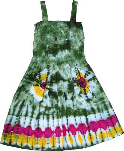 Global Village Girl's Green Tie-Dye Dress with Elastic Bodice, Size 5