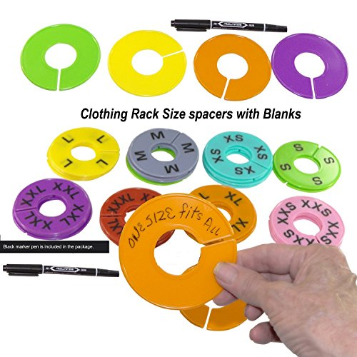 48 Pieces 8 Colors Clothing Size Dividers Round Hangers Clos
