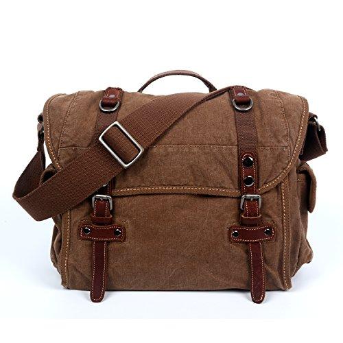The Same Direction Silver Road Messenger Bag Canvas and Leather Bag (Camel) (The Same Direction Bag)