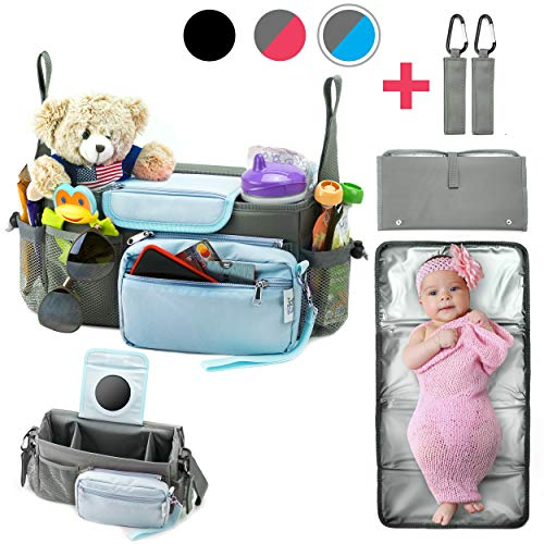 Universal Baby Stroller Organizer Bag with Portable Changing Pad & 2 Hooks Durable Waterproof Material 10-in-1 Compact Go Stroller Accessories Organizer Extra Storage Baby Shower Gift Box (Grey/Blue)