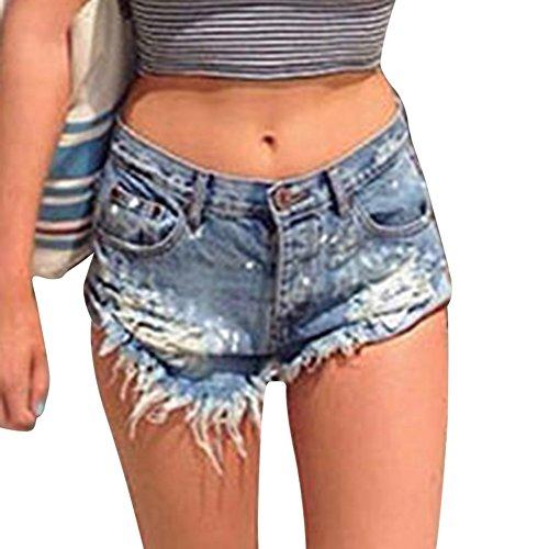 Marino Shorts Distressed Blu Alta Buco Corti Denim Pantaloncini Vita Irregolare Jeans Hot Donna Pants RSYIqxOw7
