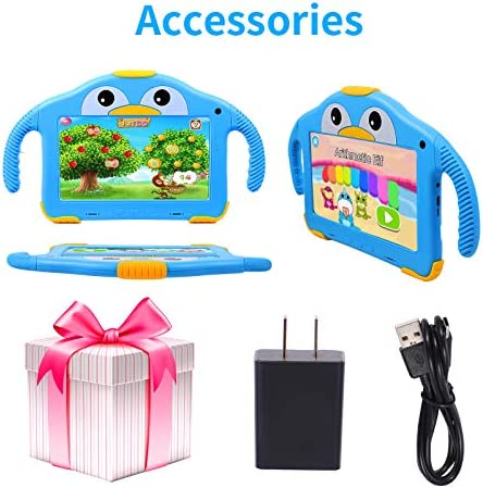 Kids Tablet,7 Tablet for Kids Edition Android 10.0 Toddler Tablet IPS HD Display 16GB ROM Quad Core Processor,Kids APP Preinstalled Learning Tablet W/Kid-Proof Case 3500mah Capacity Battery