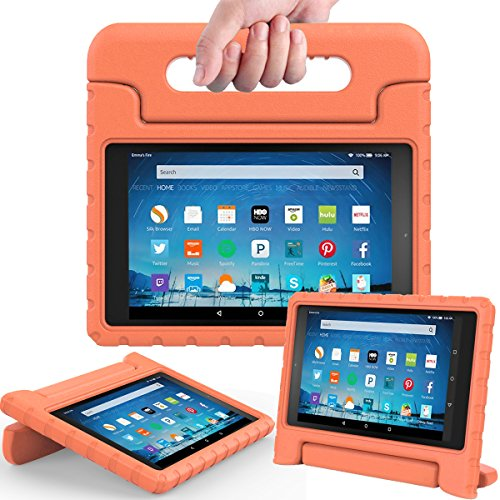 AVAWO Shock Proof Case for Fire HD 8 2017/2018 Tablet with Alexa - Kids Shockproof Convertible Handle Light Weight Protective Stand Case for Fire HD 8 inch (7th/8th Generation 2017/2018 Release)Orange