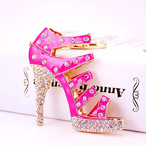 Jzcky Shzrp Fashion Lady's High-heeled Sandals Crystal Rhinestone Keychain Key Chain Sparkling Key Ring Charm Purse Pendant Handbag Bag Decoration...