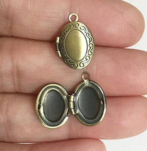 5 pcs of Antique Brass Oval Locket Pendant 11x16mm, Antique Brass Photo Frame Locket, Very Small Locket