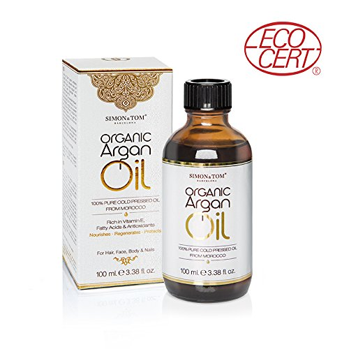 Simon   Tom Organic Argan Oil   Cold Pressed Ecocert Certified Moroccan Argan Oil For Hair  Face  Skin And Body   100  Bio 100 Ml   3 38 Fl Oz