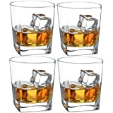 Double Old Fashioned Whiskey Glass - 10 oz Crystal Glasses Square White Spirits Mug Scotch Cups Wine Cup Home Bar Drinkware (Set of 4)