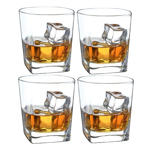 - Double Old Fashioned Whiskey Glass - 10 oz Crystal Glasses Square White Spirits Mug Scotch Cups Wine Cup Home Bar Drinkware (Set of 4)