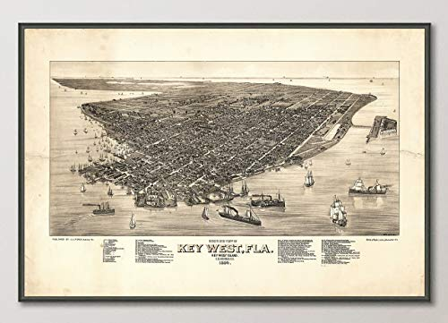Vintage Key West Florida Birds Eye View Map Reproduction ART PRINT from 1884, UNFRAMED, Wall art decor poster sign, All Sizes