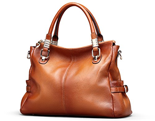 Borgasets Fashion Women Genuine Leather Top-handle Tote (brown) Bg9333