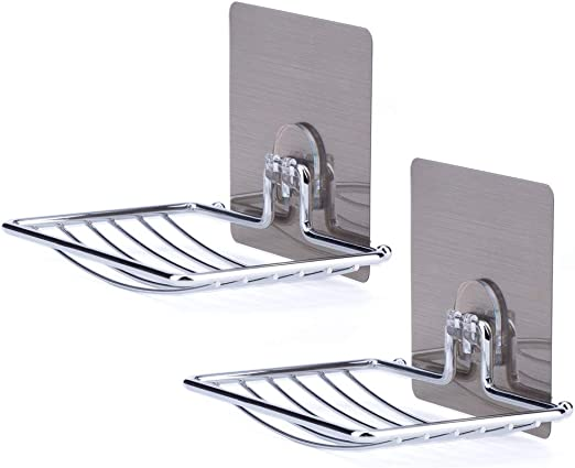 Stainless Wall Mount Soap Holder Tray Shower Bath Dish for Bathroom Kitchen
