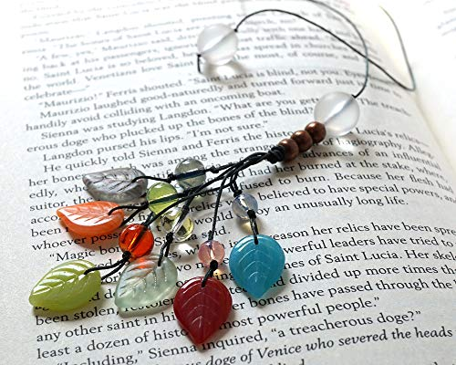 Handmade Beaded Bookmark Mixed Color Leaves Glass Beads Book Lover Gift Bookworm for Reader Librarian Gonna Read Teacher Book Thong String Bookcase Decor Crafted by KapKaDesign