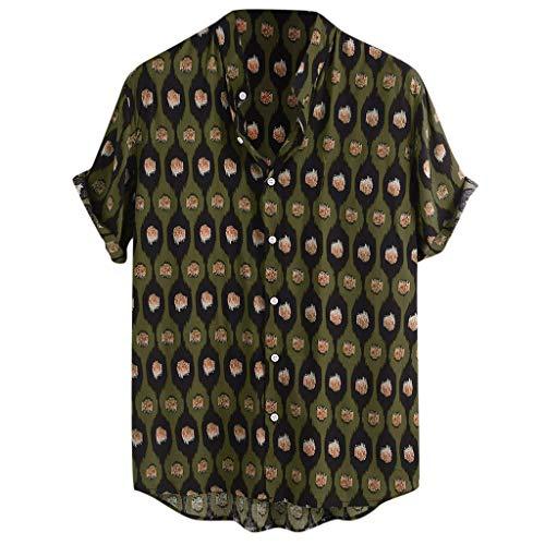 iHPH7 Shirt Slim Fit Short Sleeve Ethnic Style Stripe Printed Turndown Collar Loose Casual Men (XL,7- Green)