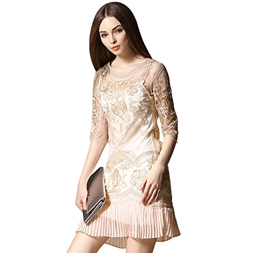 Floral transparenten bestickter Tüll Party Damen Aprikose Cocktail Spitze dezzal Kleid Ball qa15Oxx