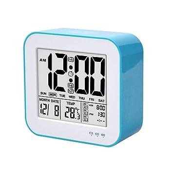 Despertador para niños Relojes de Escritorio y estantería Pantalla LED Grande Digital con la Temperatura para el Reloj de Carga USB de la Oficina en casa: ...