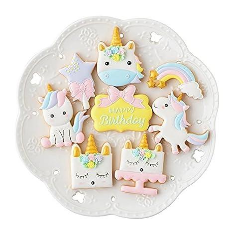 BONYTAIN - Juego de 8 moldes de plástico para galletas de unicornio y pastelería: Amazon.es: Hogar