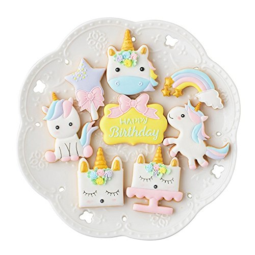 BONYTAIN 8pcs/set Unicorn Horse Cookies Cutter Biscuit Pastry Baking Plastic Mold Mould Cake Tools StyleA