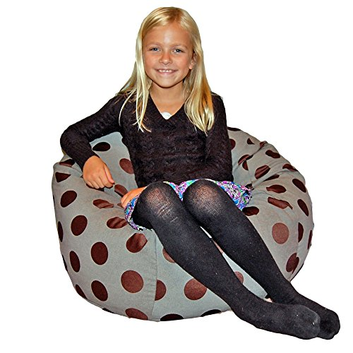 Ahh! Products Delightful Dots Washable Kid Bean Bag Chair, Gray by Ahh! Products