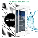 iPhone 6 Plus/6s Plus Screen Protector,Airsspu Tempered Glass 3D Touch Compatible,9H Hardness,Bubble Free (2Pack White)