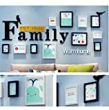 Home@Wall photo frame Modern Home Wood Photo Frame Sets Of 11 , Living Room Bedroom Sofa Background Hanging Paintings Aisle Corridor Photo Frame Combination ( Color : E , Size : 11frames/18486CM )