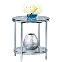 Bassett Mirror Patinoire Round End Table in Chrome Plate