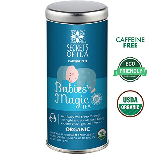 Baby Colic Babies' Magic Tea- N1 Baby Colic, Gas & Acid Reflux Relief-USDA Organic- MUST BE USED 3 TO 4 TIMES A DAY- 20 Sanitized T Bags- Up to 80 Servings. No Chemicals (Best Reflux Medicine For Infants)