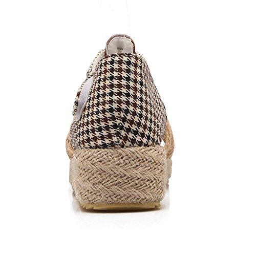 COOLCEPT Damen Mode-Event T-Spangen Sandalen Open Toe Keilabsatz Schuhe Mit Klettband Braun