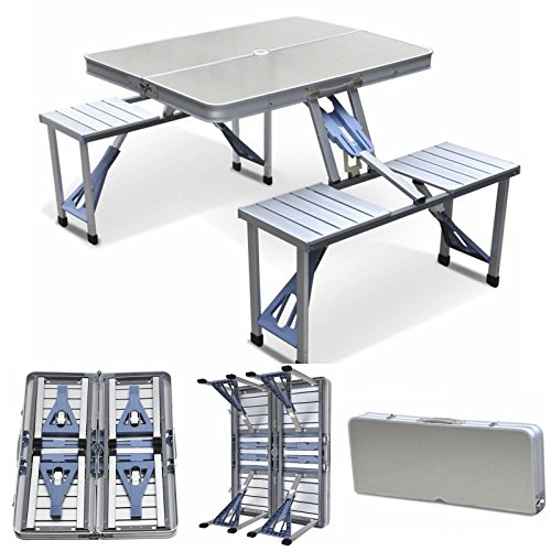 Cypress Shop Folding Portable Aluminum Outdoor Garden Camping Table and Chairs Picnic Table Connected Desk with 4 Seats for Family Trips Camping RV Trips Family with Case Home Furniture