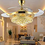 Lighting Groups Modern Luxury Folding Ceiling Fan Crystal Led Lamp Retractable Ceiling Fans with Lights Remote Control Bedroom Retractable Livingroom Study Ceiling Lights Fixtures (42 Inch, Gold A)