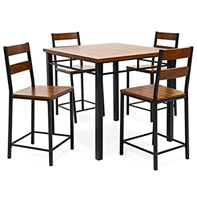 Best Choice Products 5-Piece Vintage Oak Counter Height Table Dining Set w/Chairs (Brown)