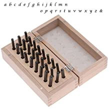 27 Pc Lowercase Lucida Calligraphy Alphabet Letter Punch Set For Stamping Metal In Wood Box 1/8 Inch 3mm
