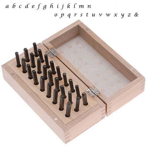Lucida Kalligraphie-Set - Stempelset - Kleinbuchstaben - 27-teilig - 3mm - Metall - in Holzkiste