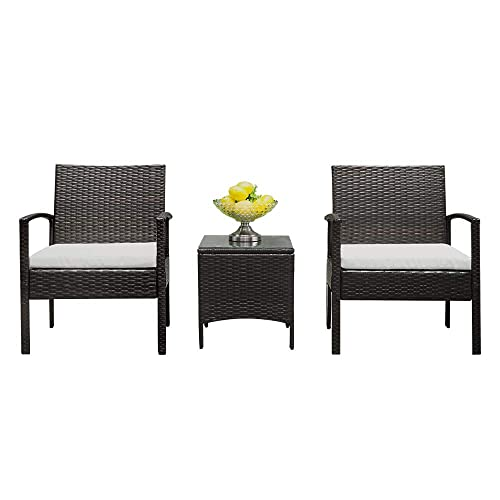 Lovinland Patio Furniture 3 Piece Rattan Outdoor Furniture Table Sofa Conversation Set with Cushion and Tempered Glass Tabletop for Pool Garden Lawn Backyard Balcony Brown Gray Cushion