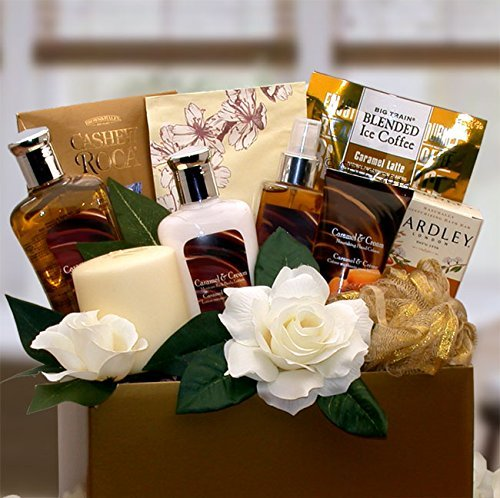 Gift for Her Vanilla & Caramel Bath & Body Spa Gift Basket
