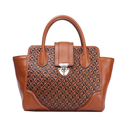 Unicorn Leather Weave Satchel Tote Top Handle Bag U30b-9785m