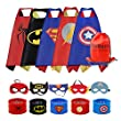 RioRand Dress Up Costumes 5-Pack Cartoon Satin Capes Set With Felt Mask,slap bracelets and Exclusive Bag For Kids Boys