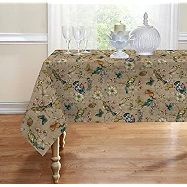 Birds Fabric Tablecloth By GoodGram® - Assorted Sizes (60 in. x 84 in. 6 Chair)