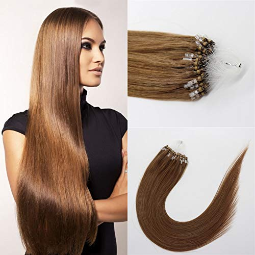 Kun Na Micro Beads Hair Extensions Real 100% Human Hair 1g/Strand,50g Remy Loop Micro Rings Straight Virgin Hair For Woman 24 Inch Color #8 Camel Brown ()