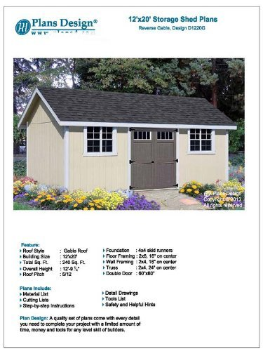 12 X 20 Garden Utility Storage Shed Plans Material List And Step By Step Included Design D1220g