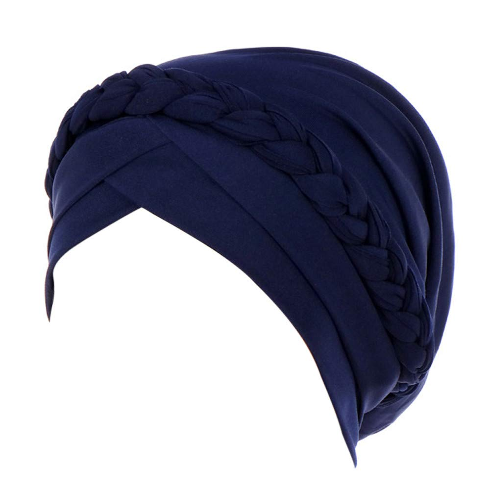 BESSKY Women India Hat Muslim Solid One Tail Chemo Beanie Scarf Turban Warm Wrap Cap Muslima Solid Color geflochtene Kappe Kapuze