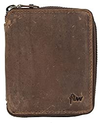 Men's Pocket Sized Metal Zip-around Strong Genuine Leather Wallet