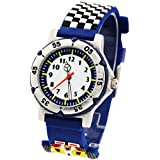 ELEOPTION Kids Watches for Boys, Waterproof Children Sport Watches Kids Digital Wrist Watches Outdoor Analog Quartz Watch With Soft Silicone Band For Boys Girls Students (Racing Car- Blue)