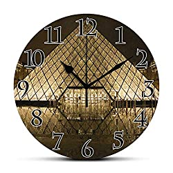 BCWAYGOD Silent Wall Clock-Louvre Desk Clock Unique Decorative for Home Office 9.5in
