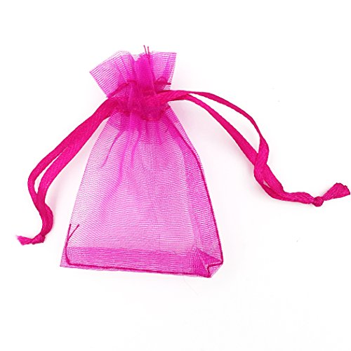 ATCG 100pcs 2x2.7 Inches Mini Organza Bags with Drawstring for Rings, Little Earrings, Jewelry Pieces, Wedding Favors Party Fovours Small Organza Pouches (Hot Pink)
