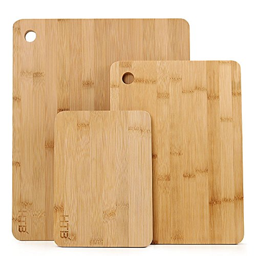 (3 PCS Bamboo Cutting And Serving Board Set, Assorted Size Kitchen Chopping Board Set by HTB Largest Board Size 14.9 x 12 Inch)