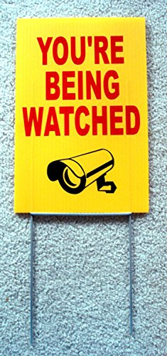 """YOU/'RE BEING WATCHED  SIGN 8/""""x12/""""   NEW with Stake Security Surveillance"""
