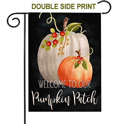 Corgi Happy Halloween (ZUEXT Welcome to Our Pumpkin Patch Fall Small Garden Flag,Black Cotton Linen Double Sided,Autumn Floral Pumpkin Happy Halloween and Thanksgiving Harvest Farmhouse Outdoor Vintage Decor 12.5x18)