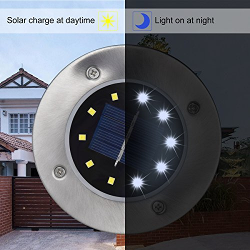 DUUDO Solar Ground Light, Newest 10 LED Garden Pathway Outdoor Waterproof In-Ground Lights, Disk Lights (Cold White, 4 PACK) by DUUDO (Image #4)