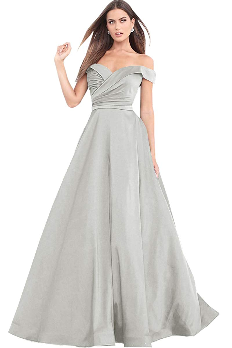Womens A Line Off The Shoulder Drapped Satin Prom Dress Long Formal Evening Gown Zhongde PR08