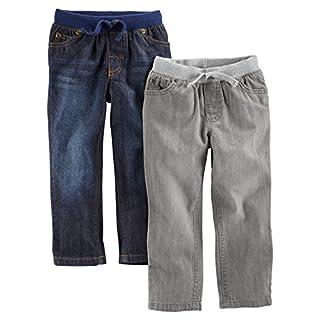Simple Joys by Carter's Baby Boys' Toddler 2-Pack Pull on Denim Pant, Gray Denim, Blue Denim, 4T